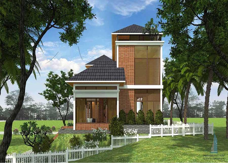 Thiết kế biệt thự sân vườn 2 tầng - Mặt bên