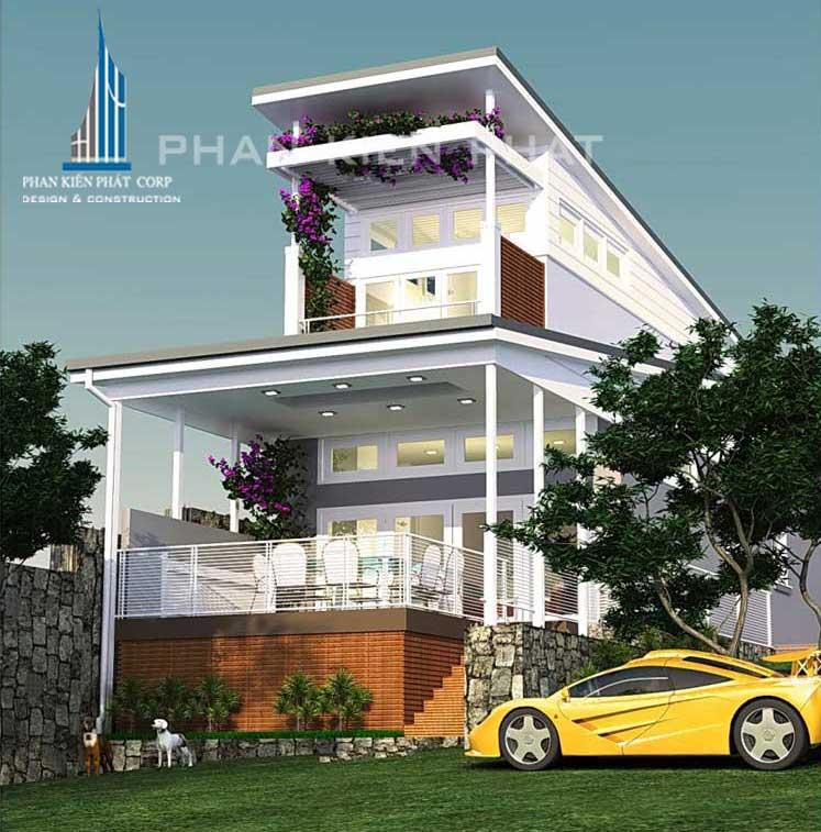 Bản vẽ thiết kế nhà 2 tầng sân vườn