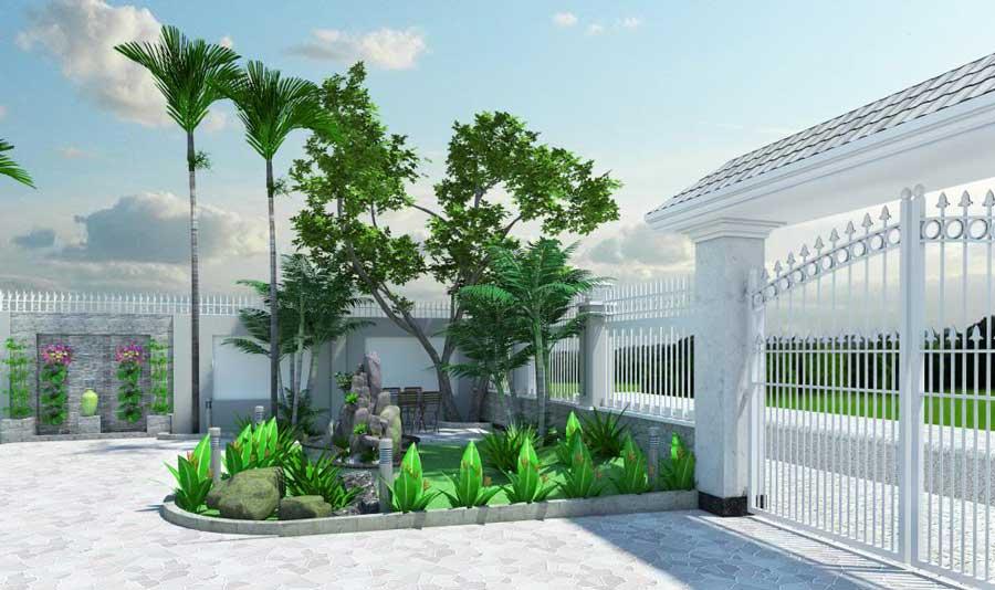 Biệt thự phong cách Châu Âu - Phần vườn nhỏ trước sân