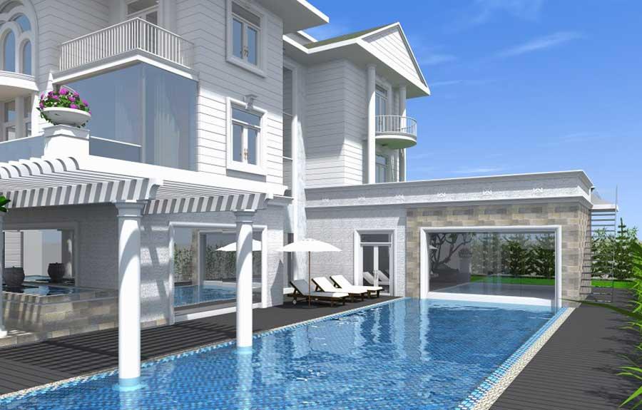 Biệt thự 3 tầng bán cổ điển - Hồ bơi bên nhà