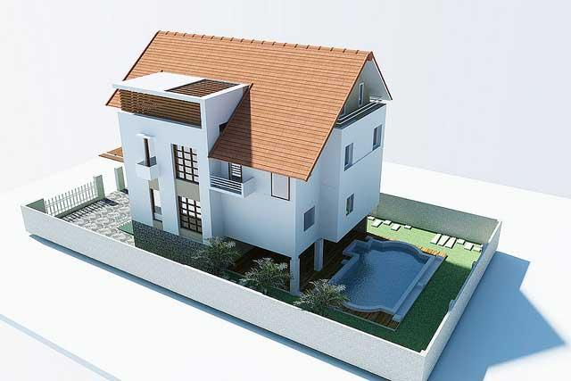 Biệt thự 3 tầng mái Thái
