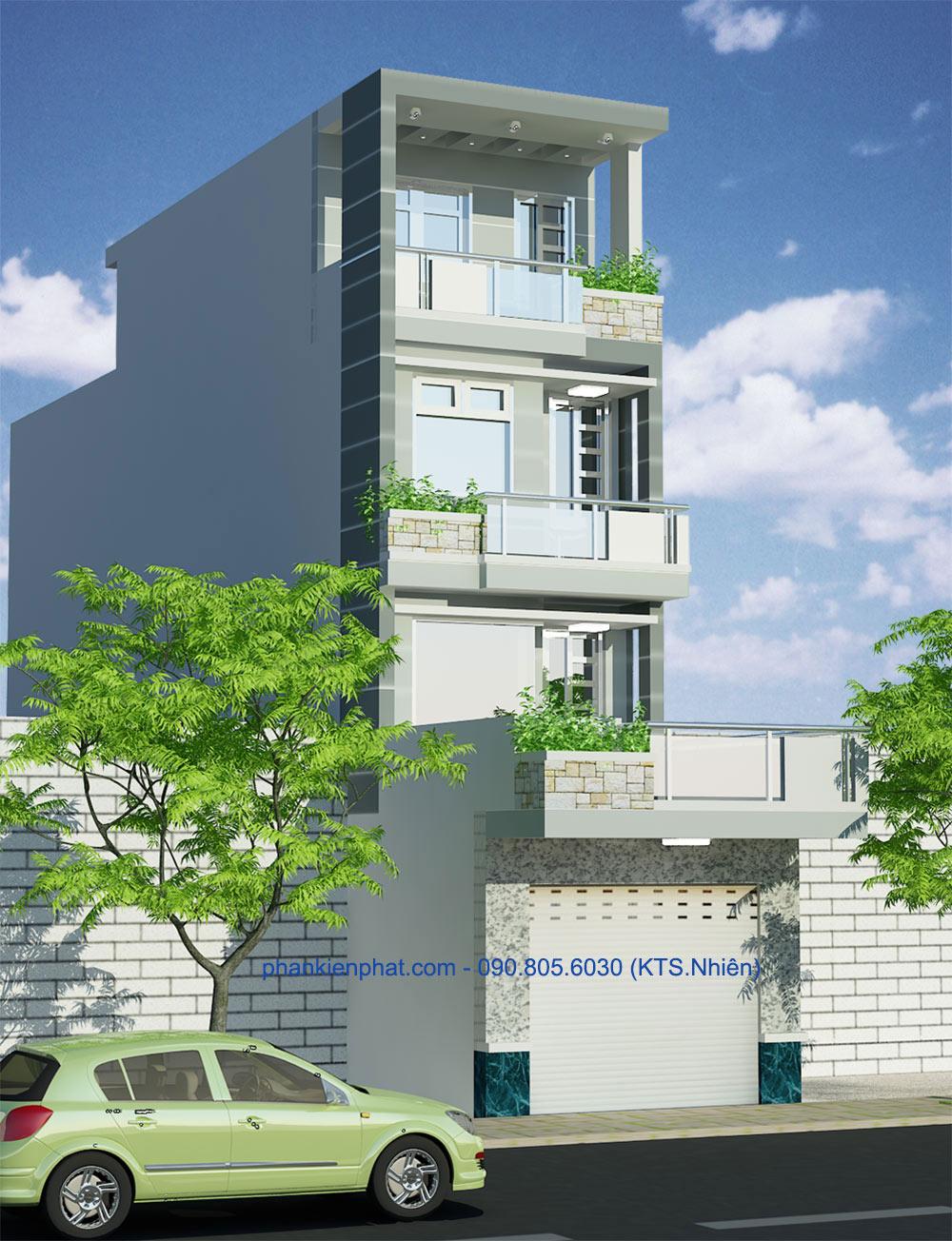 Bản vẽ mặt tiền view 2 của nhà thông tầng 4 tầng hiện đại