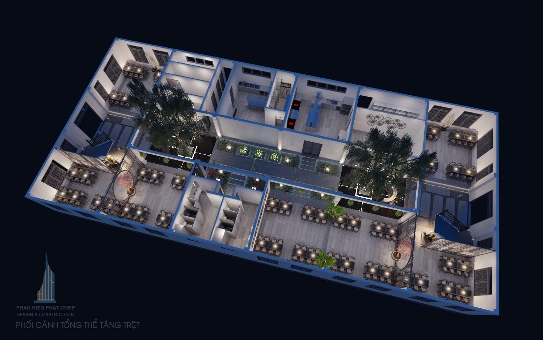 Thiết kế nhà hàng tầng trệt