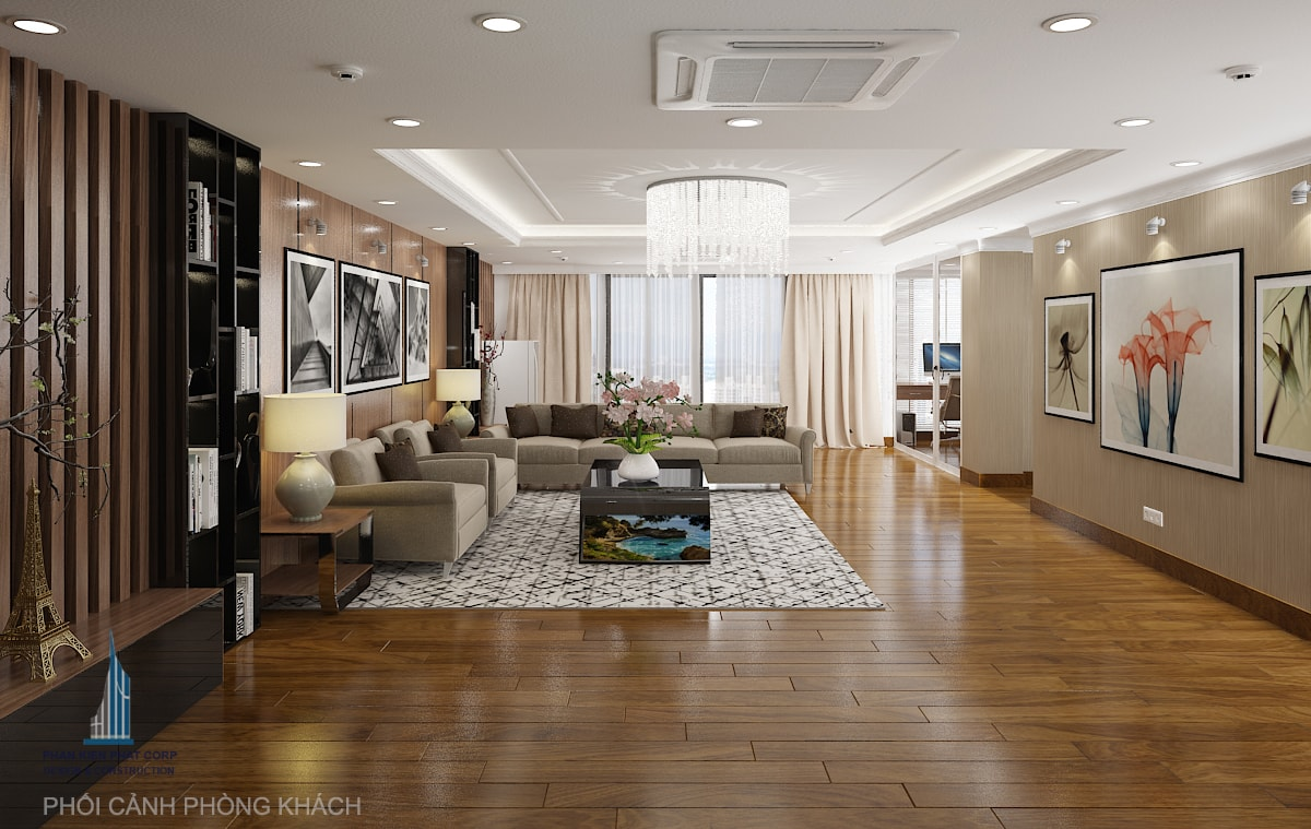 Bản vẽ nội thất phòng khách view 3
