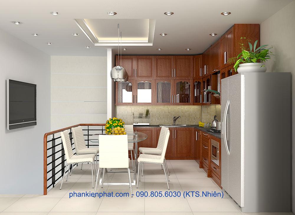 Phòng bếp của nhà đẹp 4 tầng phố