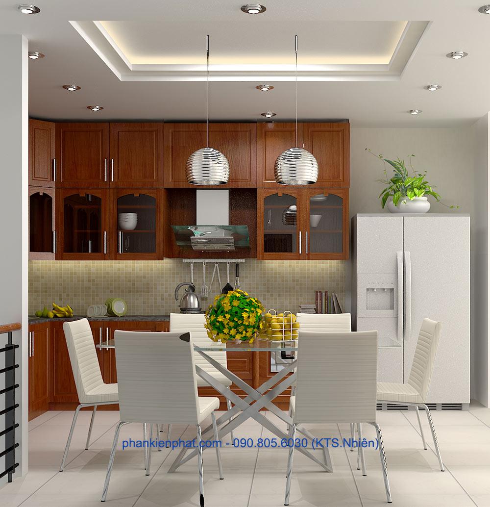 Phòng bếp view 2 nhà ống 1 trệt 3 tầng 4.7x12m