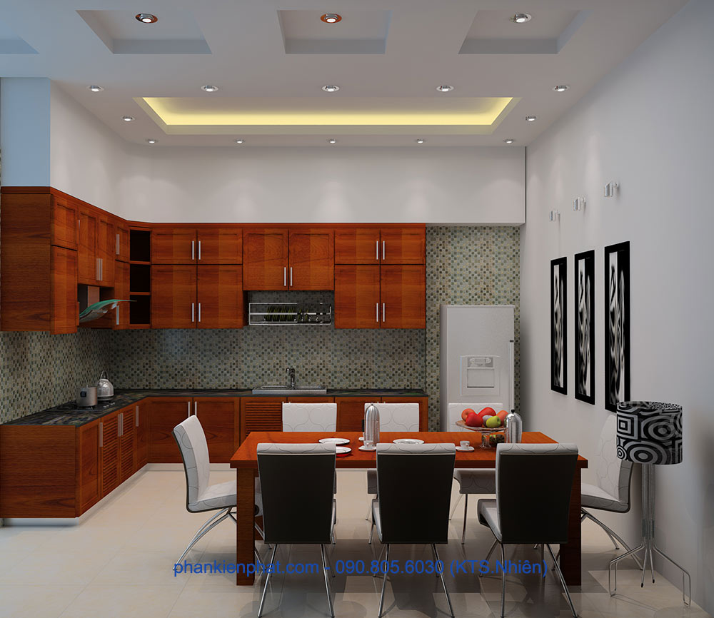 Phòng bếp view 1 của mẫu nhà phố hiện đại 4 tầng