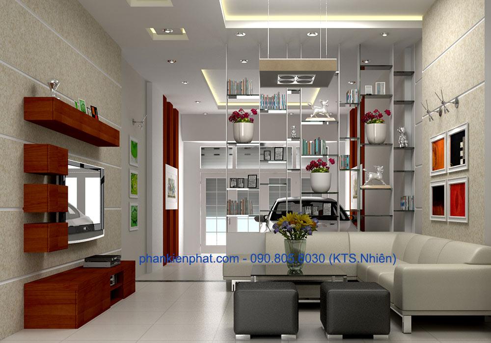 Phòng khách của mẫu nhà đẹp 4 tầng 4.5x20m