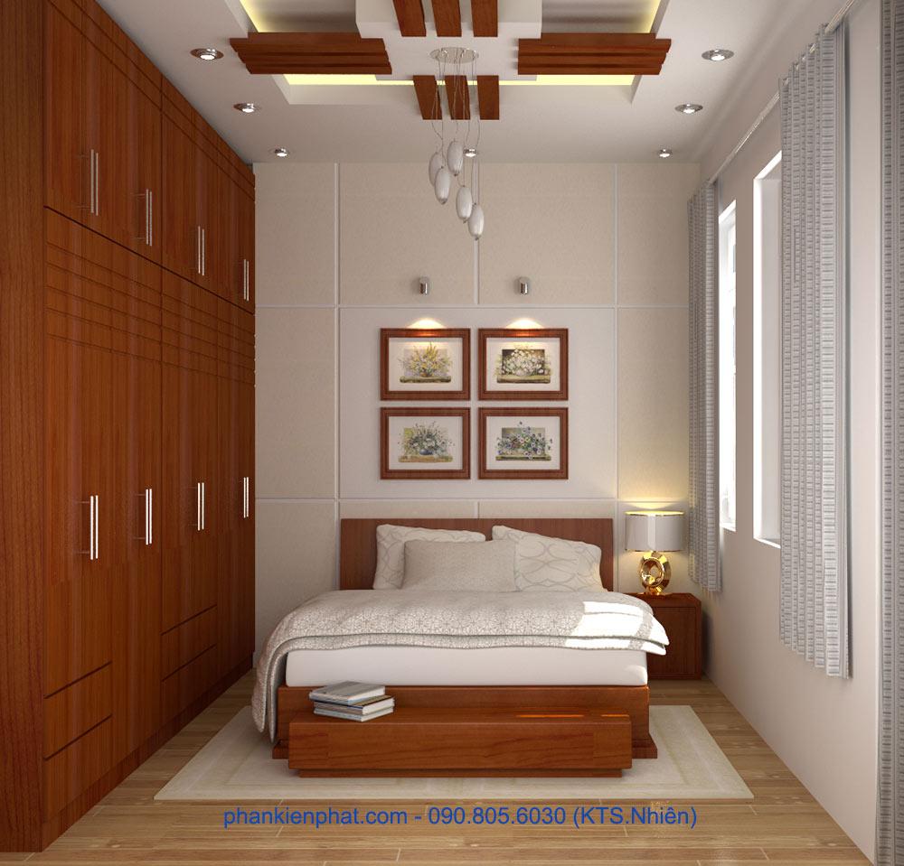 Phòng ngủ 1 view 1 của mẫu nhà 4 tầng hiện đại