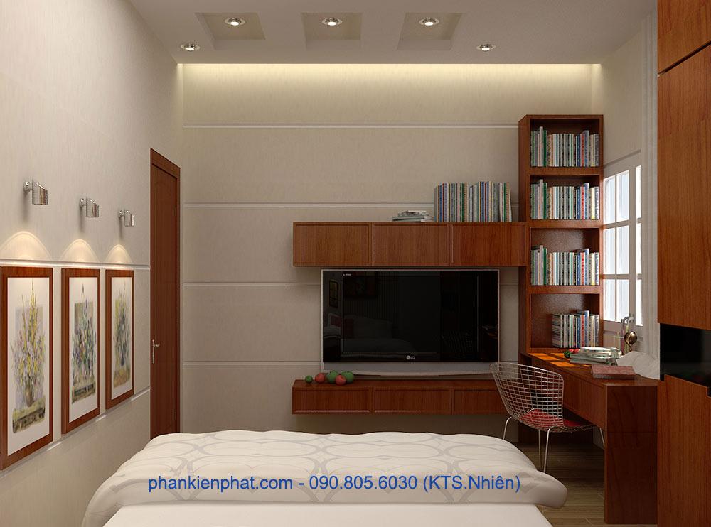 Phòng ngủ 2 view 2 của nhà phố đẹp hiện đại 4 tầng