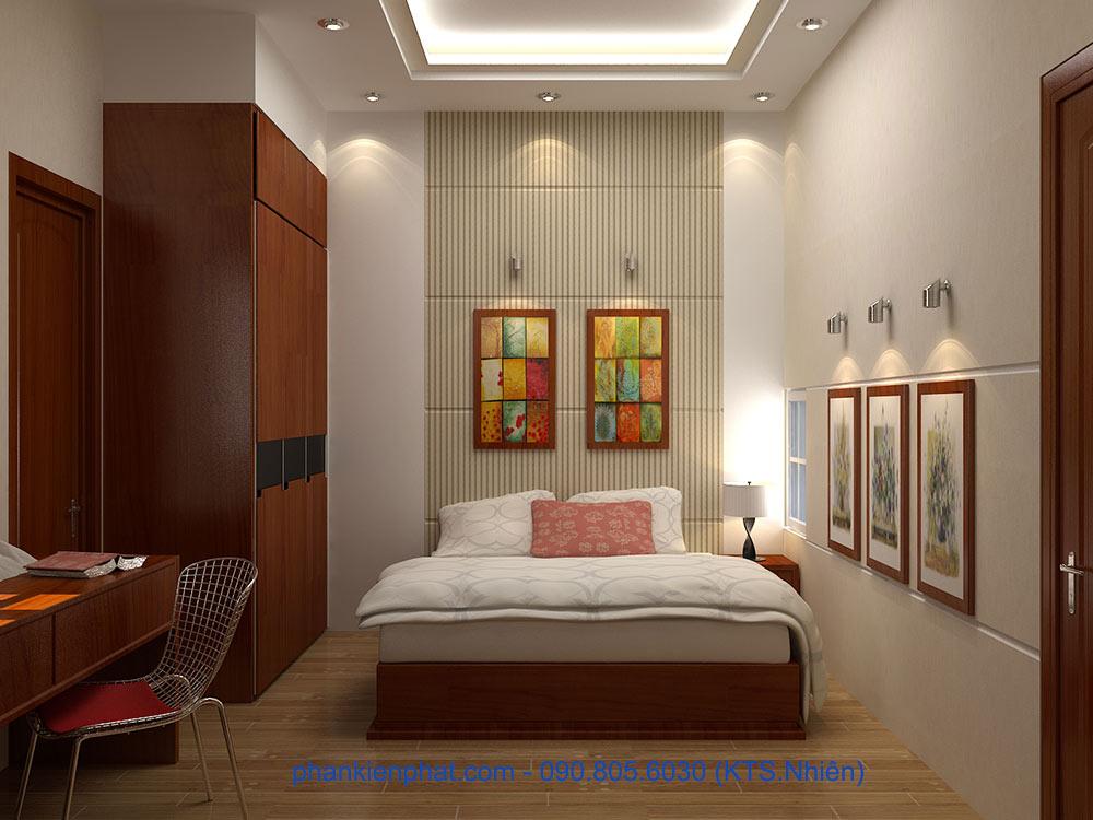 Phòng ngủ 2 view 1 của mẫu nhà đẹp 4 tầng 4.7x12m