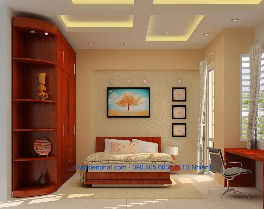Phòng ngủ 4 view 1 của thi công xây nhà 4 tầng