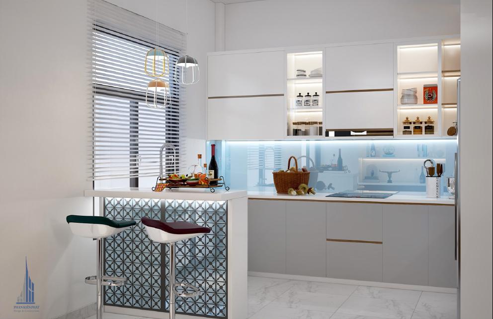 Thiết kế nội thất phòng bếp kết hợp với quầy bar hiện đại độc đáo