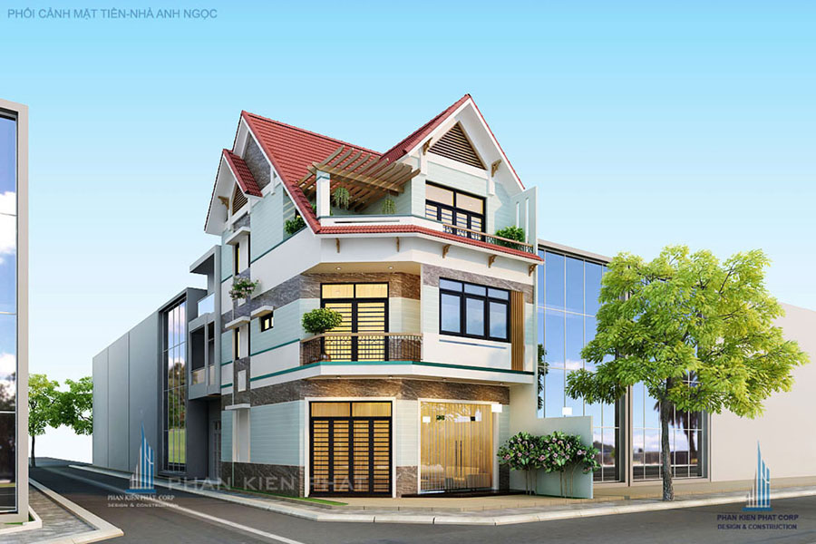 Công trình, Thiết kế xây dựng biệt thự, Anh Trương Thế Ngọc - biệt thự bán cổ điển 3 tầng