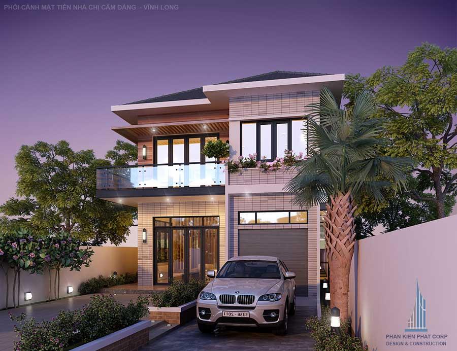 thiết kế nhà 2 tầng hiện đại 10x20m