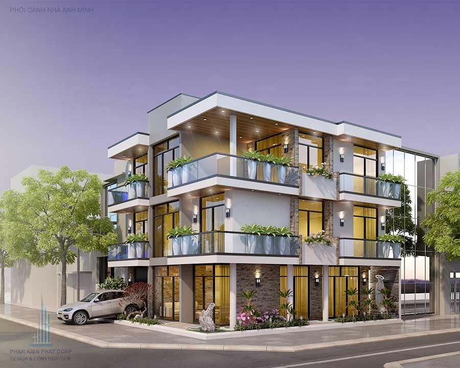 Thiết kế biệt thự 3 tầng hiện đại 2 mặt tiền