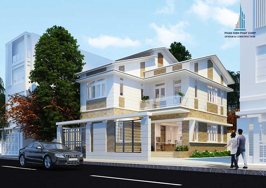 Thiết kế biệt thự 2 tầng mái xéo