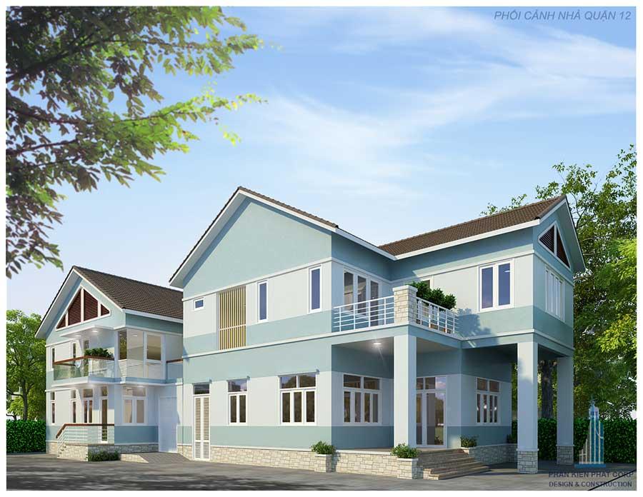 thiết kế xây dựng nhà 2 tầng 5x20m
