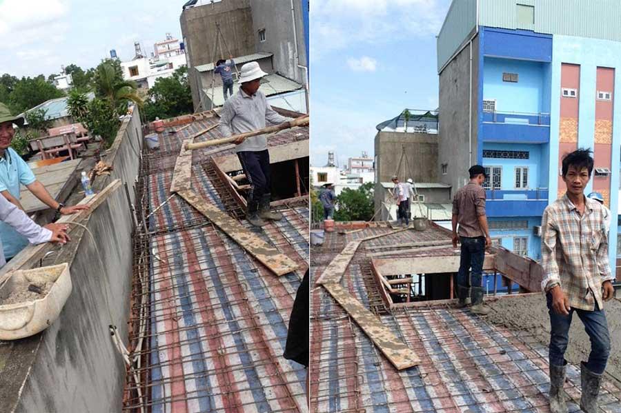 Báo giá xây nhà phố - Đổ bê tông sàn lầu 2