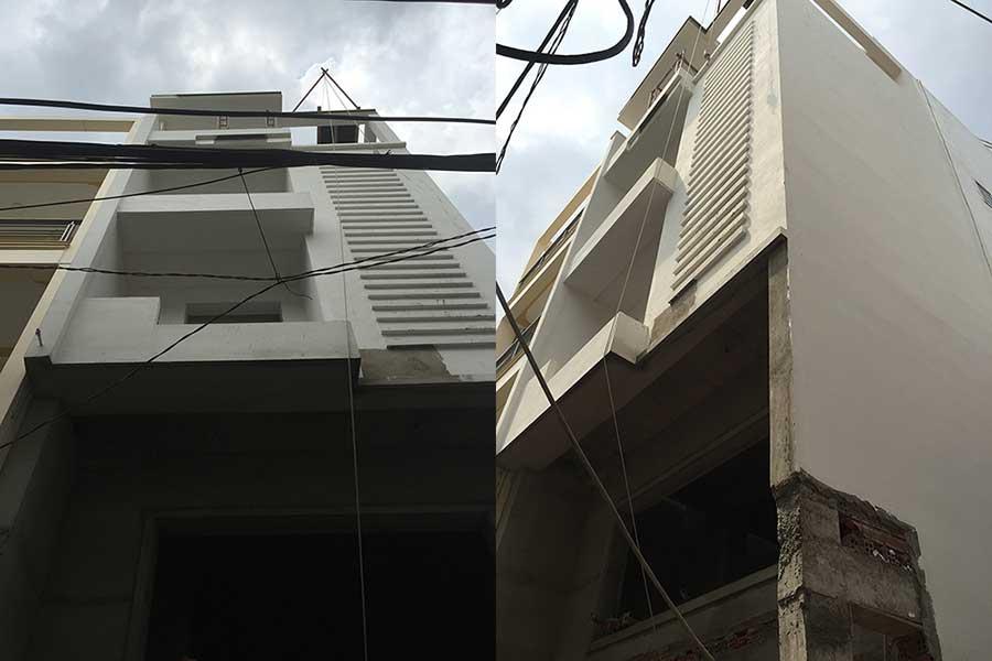 Thiết kế nhà 5 tầng - Giai đoạn gần hoàn thiện
