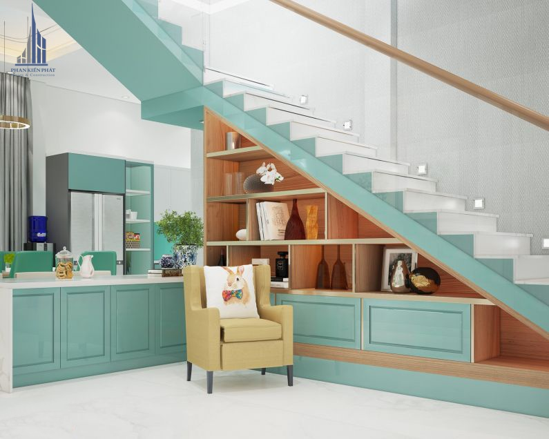Kệ tủ dưới cầu thang giúp khai thác triệt để không gian của căn nhà