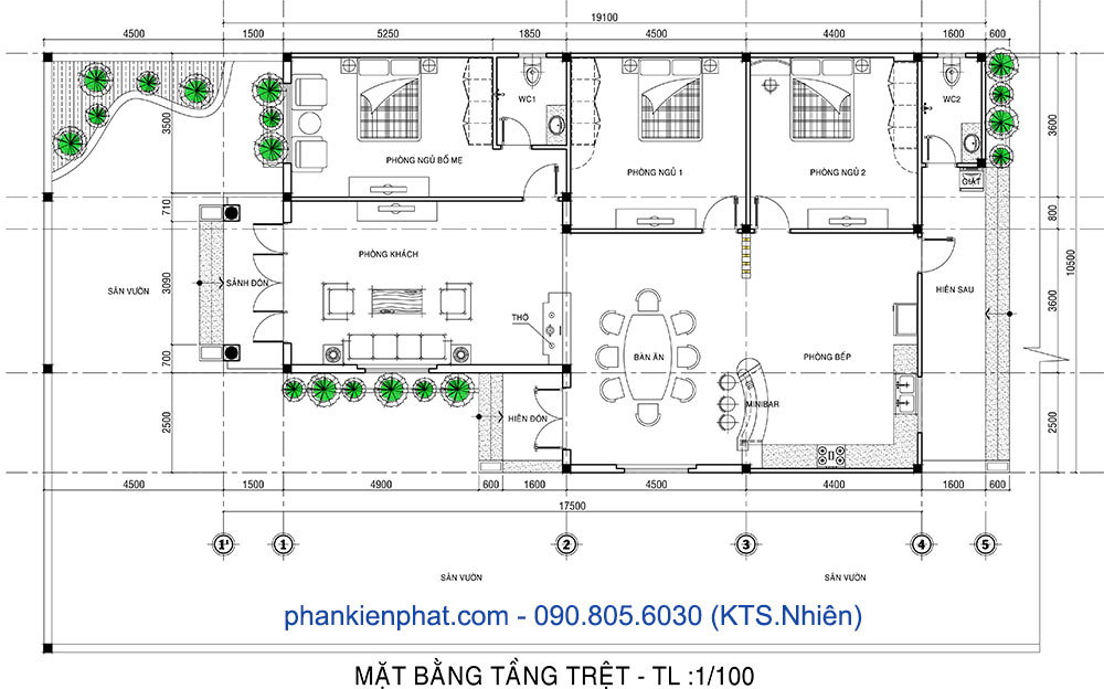 Mặt bằng biệt thự mini cấp 4 10.5x17.5m