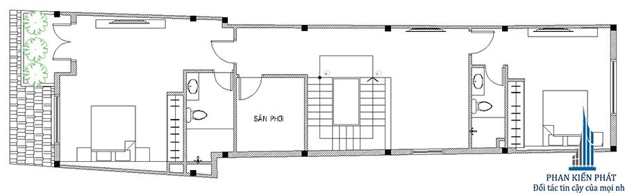 Mặt bằng lẩu 1 - nhà 3 tầng bán cổ điển