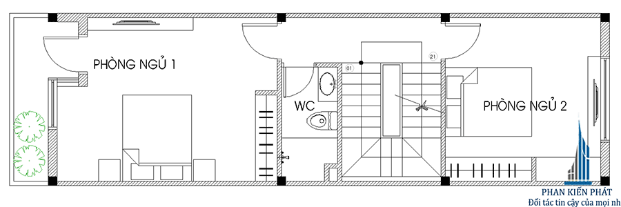 Mặt bằng lầu 1- nhà phố 3 tầng