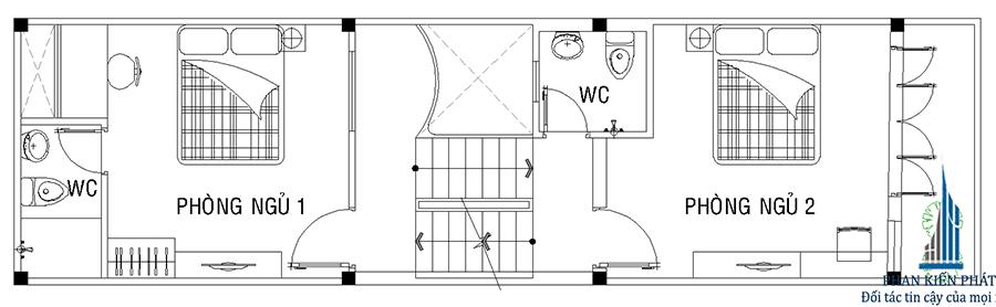 Mặt bằng lầu 1 của nhà phố 2 tầng