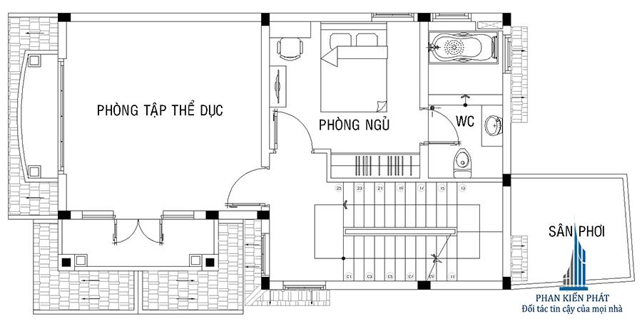 Biệt thự 3 tầng - Mặt bằng lầu 1