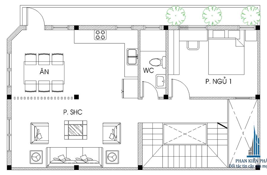 Thiết kế biệt thự - Mặt bằng lầu 1