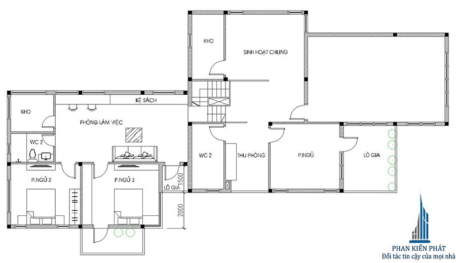 Mặt bằng lầu 1 - nhà 2 tầng 12x20m