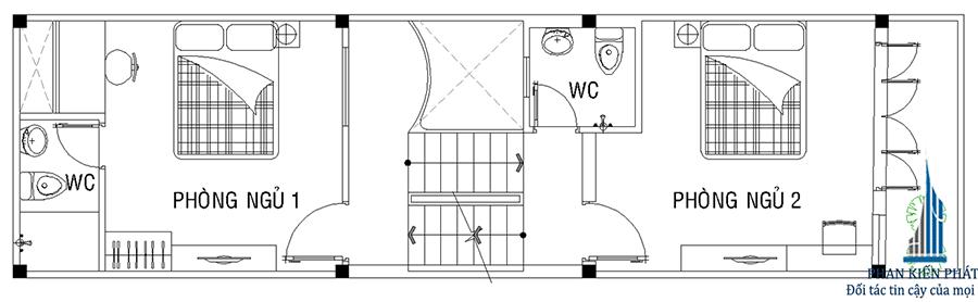 Thiết kế nhà ống - Mặt bằng lầu 1