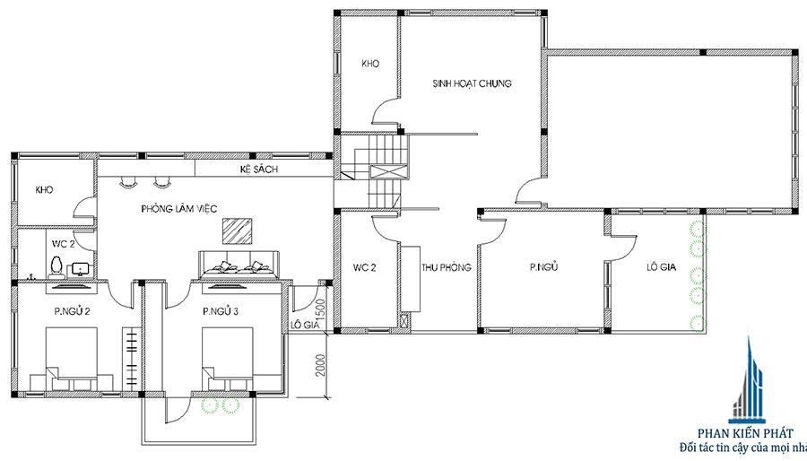 Nhà 2 tầng 5x20m - Mặt bằng lầu 1