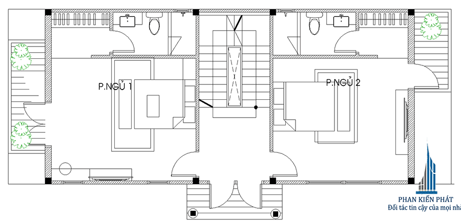 Biệt thự 2 tầng - Mặt bằng lầu 1