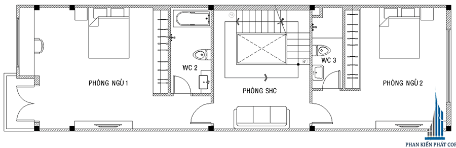 Thiết kế nhà phố - Mặt bằng lầu 1