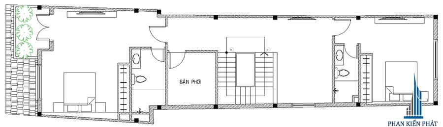 Nhà phố 5x15m - Mặt bằng lầu 1