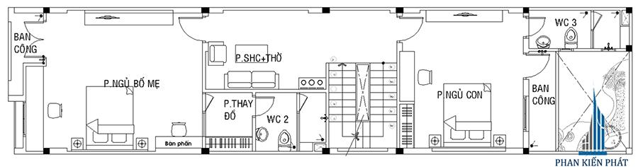 Thiết kế nhà 3 tầng - Mặt bằng lầu 1