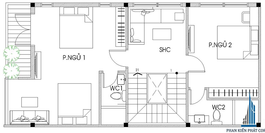 Nhà 4 tầng mặt phố - Mặt bằng lầu 1