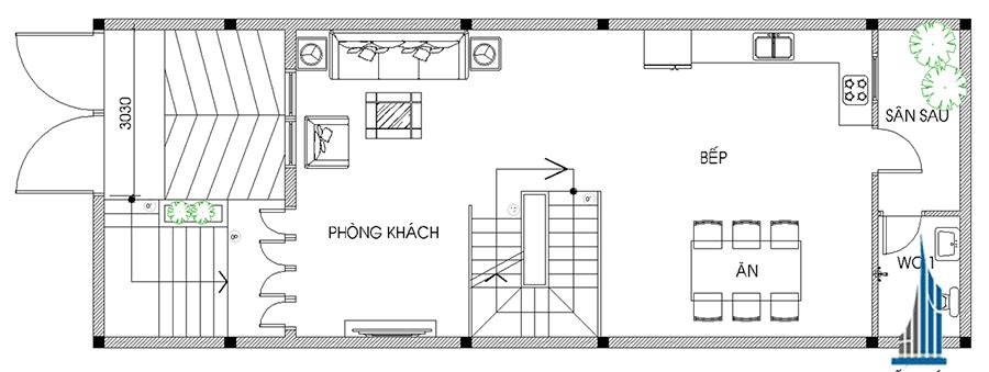 Thiết kế nhà 4 tầng - Mặt bằng lầu 1