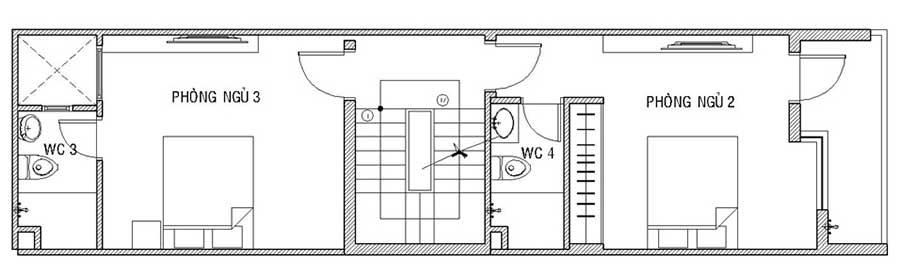 Mặt bằng lầu 1 - nhà phố 4 tầng
