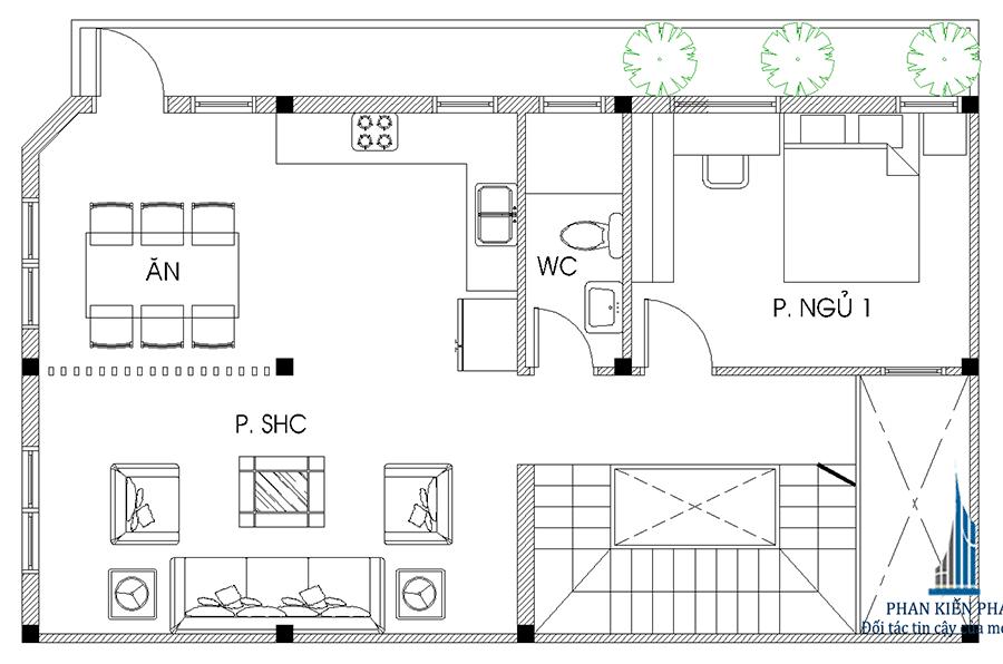Mặt bằng tầng lửng của nhà 4 tầng 2 mặt tiền