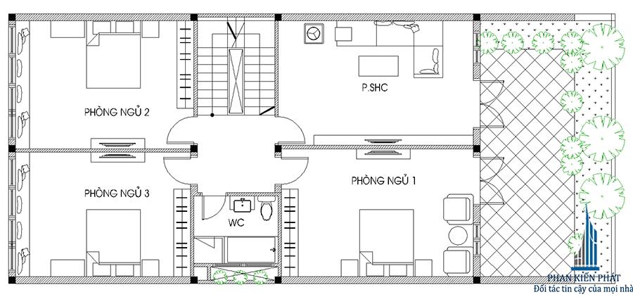 Mặt bằng lầu 1 của nhà phố 4 tầng hiện đại