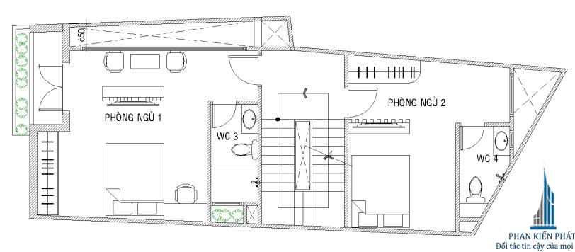 Bản thiết kế nhà 5 tầng - Mặt bằng lầu 1