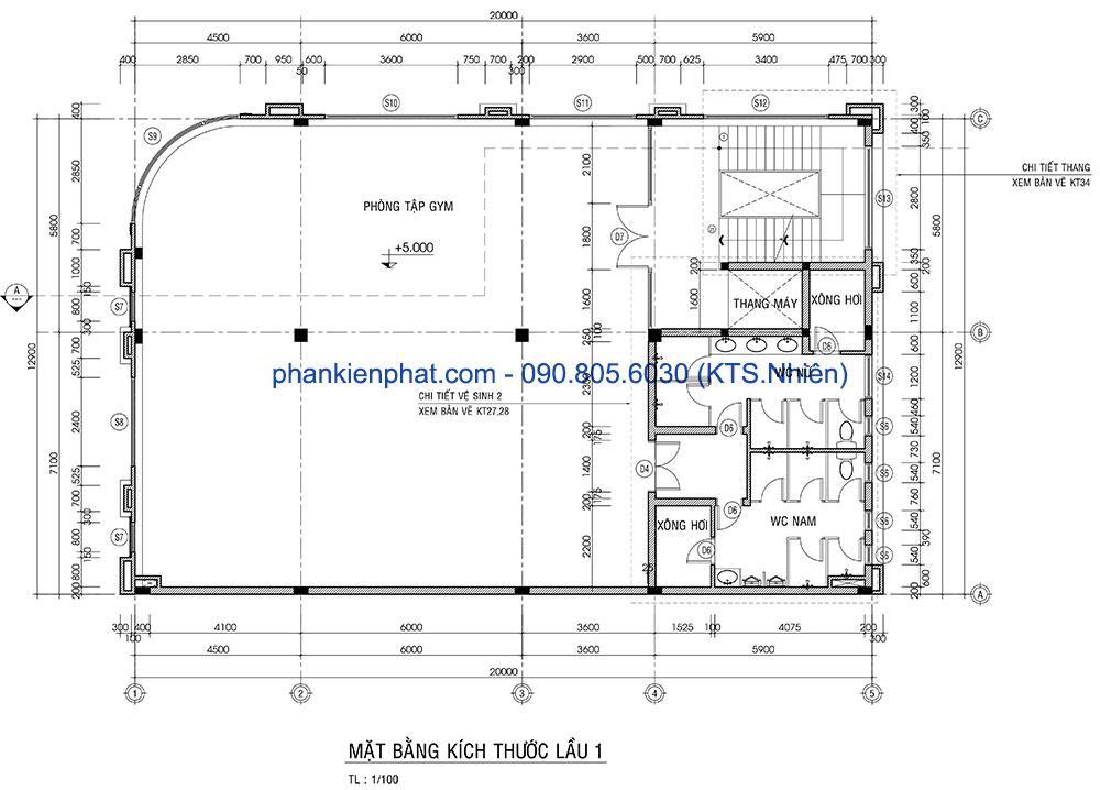 Mặt bằng lầu 1 của biệt thự hoàng gia kinh doanh 13x20m
