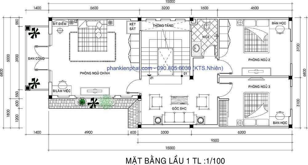 Mặt bằng lầu 1 của biệt thự chữ L 3 tầng