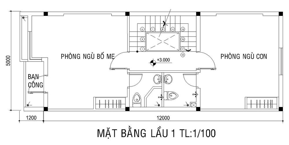 Mặt bằng lầu 1 của mẫu nhà 5x16m 3 tầng
