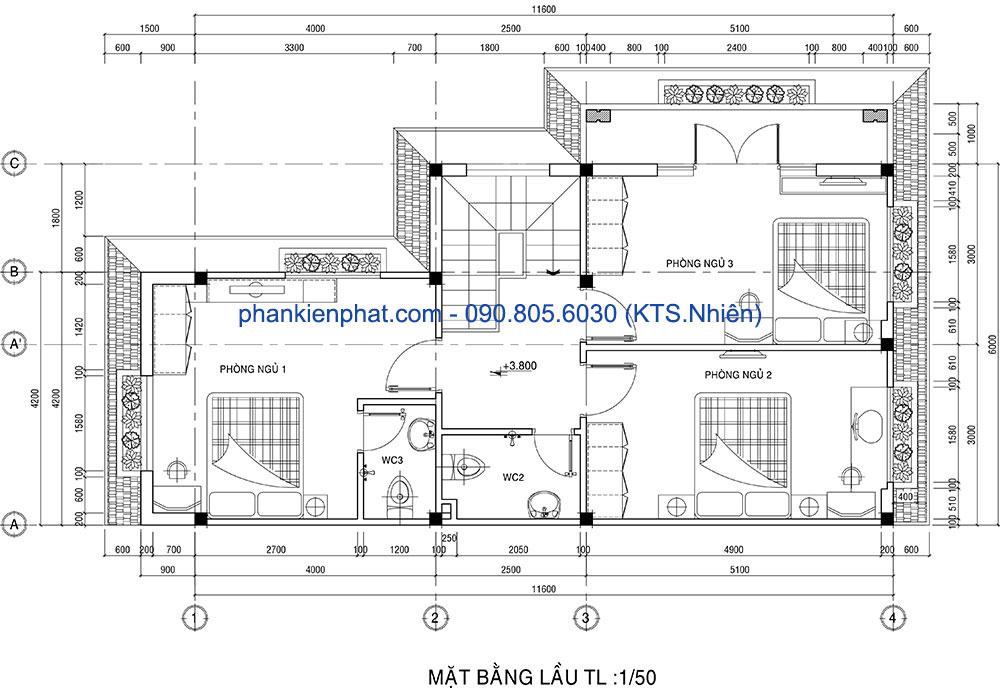 Mặt bằng lầu 1 của nhà 2 tầng 11x6m