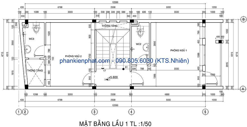 Mặt bằng lầu 1 của nhà phố 4,7x12m 4 tầng
