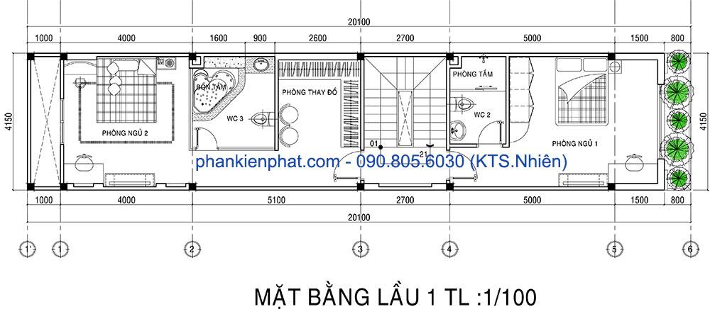 Mặt bằng lầu 1 nhà 3 tầng 4x20m